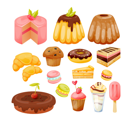 A set of various sweets, delicious, beautiful pastries and desserts. Illustration