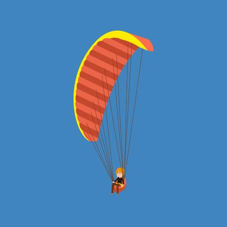 descending: Man paragliding on a parachute. Parachutist descending with a parachute.