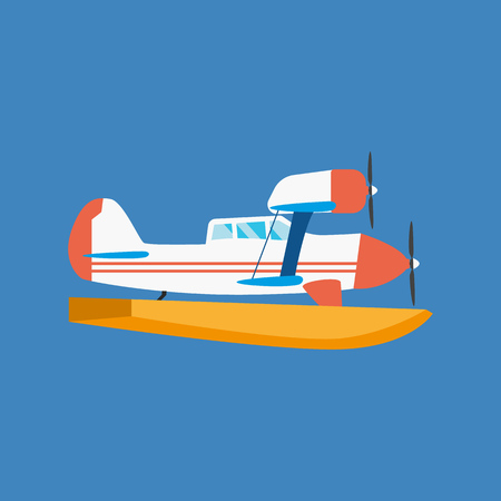 Modern amphibian seaplane floating in air and floating on water.