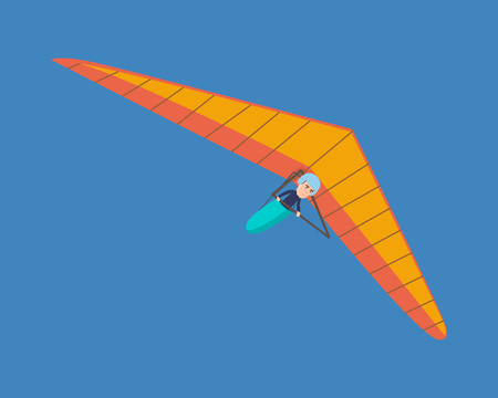 Modern hang glider, man hovering in air on this vehicle.