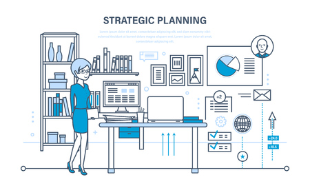 strategy meeting: Planning strategy, marketing strategy. Investment growth, management, planning process, meeting. Illustration