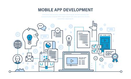 mobile apps: Programming, coding online,web courses, design, mobile and desktop app development. Illustration