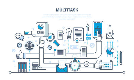 tablet pc in hand: Multitask, performing multiple task simultaneously, using tablet, laptop, cellphone, data.