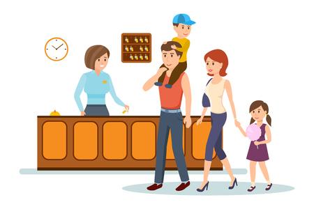 Empfangsdame dient Familie, Beratung, gibt ihnen Schlüssel zum Hotelzimmer.