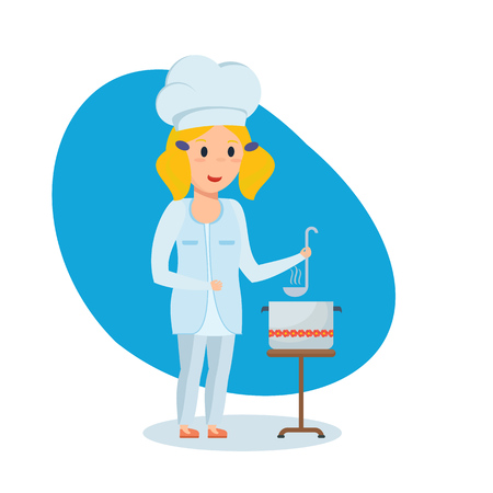 Little girl in shape of chef, stir and taste soup. Illustration