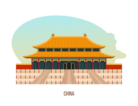 Temple-monastery complex in beijing is building of temple of heaven. Vettoriali
