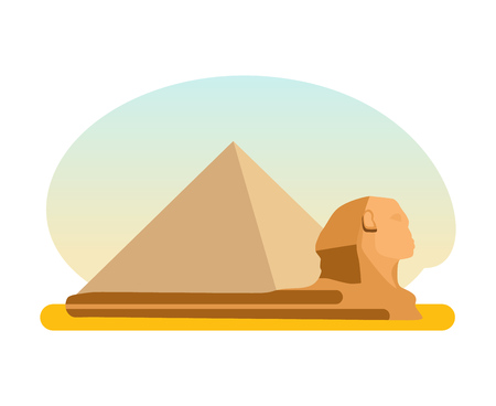 antiquities: The famous ancient Egyptian pyramid of Cheops and the Sphinx. Illustration
