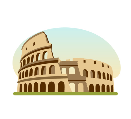 Sights different countries. Monument of Ancient Rome, building is Colosseum. Illustration