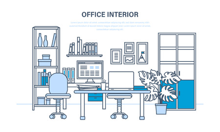 lowkey: Interior of the office room, with a workplace, low-key surroundings Illustration