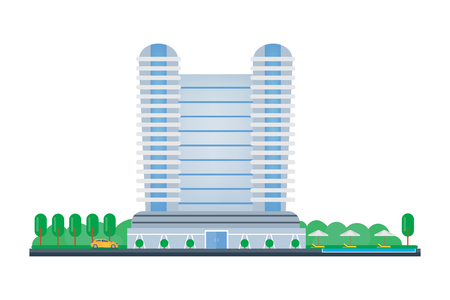 Hotel building, room reservation, exterior and interior of the building.