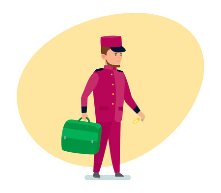 The hotel employee helps to transfer luggage to the room.