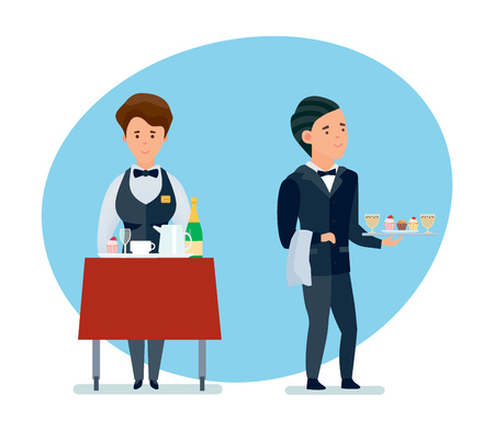 Young waiters spill drinks and carry sweets in branded clothes. Illustration