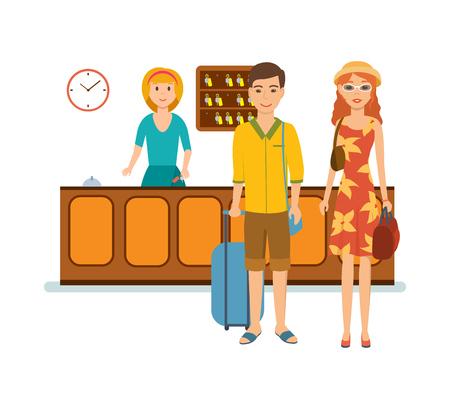 Receptionist serves family, advice, gives them keys to hotel room. Illustration