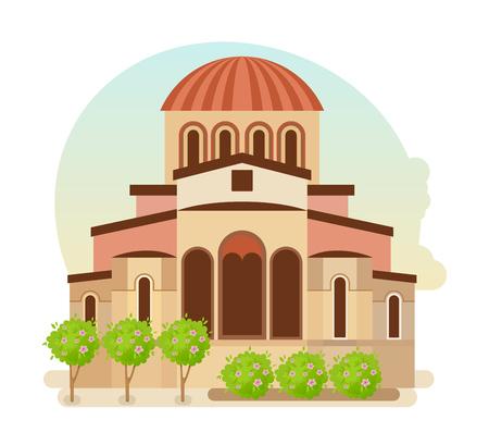 Cultural center of Byzantium, modern medieval city of Mystra Greece. Illustration
