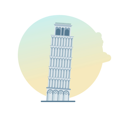 World landmark. Leaning Tower of Pisa, Italy, Europe. Illustration