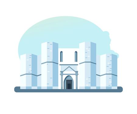 세계 광경. 카스 텔 델 몬테, 이탈리아 아드리아 근처의 작은 언덕에 위치한 건축 건물. 유럽 여행. 현대 벡터 일러스트 레이 션 흰색 배경에 고립.