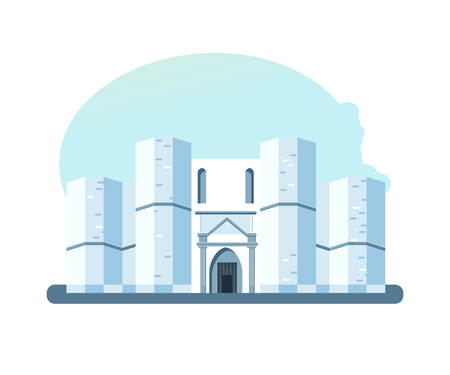 World sights. Architectural building of Castel del Monte, located on a small hill near Adria in Italy. Europe travel. Modern vector illustration isolated on white background. Illustration