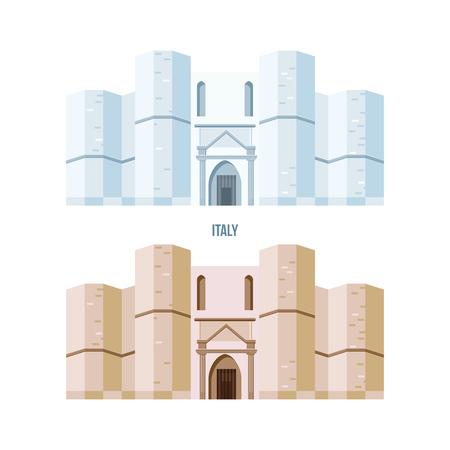 세계 광경. 카스 텔 델 몬테, 이탈리아 아드리아 근처의 작은 언덕에 위치한 건축 건물. 현대 벡터 일러스트 레이 션 흰색 배경에 고립.