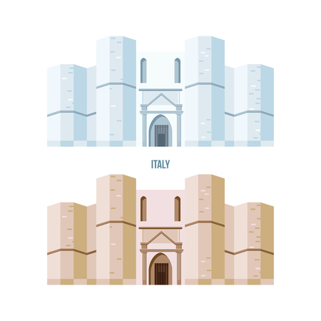 World sights. Architectural building of Castel del Monte, located on a small hill near Adria in Italy. Modern vector illustration isolated on white background. Illustration