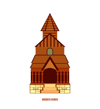 scandinavia: World sights. Architectural building, Urnes stave church, typical norwegian wooden church - part of Unesco, Norway. Europe travel. Modern vector illustration isolated on white background.