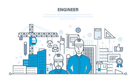 Arbeitsbau des Ingenieurs die Umwelt um den Arbeitsstandort. Standard-Bild - 78757671