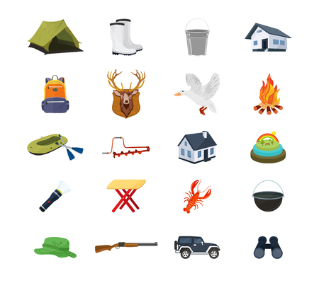 objects equipment: Set of hunter, fisherman objects, equipment, structures, equipment, clothing, accessories.