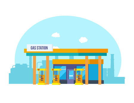 Gas station, appearance, technical equipment, against backdrop of city streets. Illustration