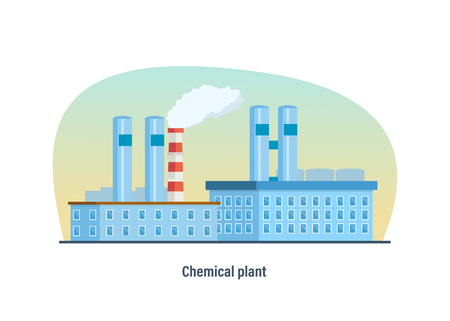 multistorey: Multi-storey building of chemical plant against background of the city