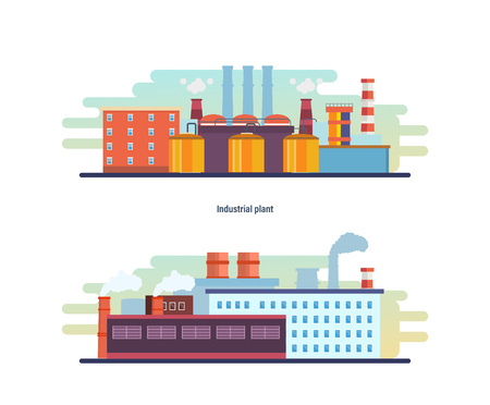 Buildings of an industrial and helium plant, stations, resource work. Stock Photo