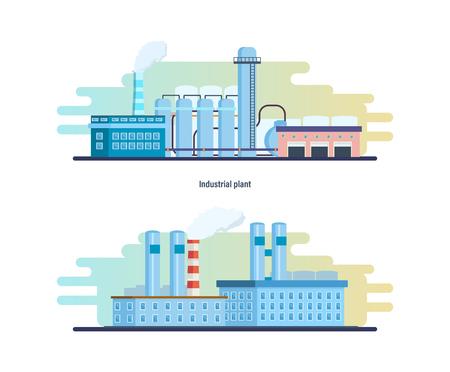 Bâtiments d'une usine industrielle et chimique, stations, travaux de ressource. Banque d'images - 80107194