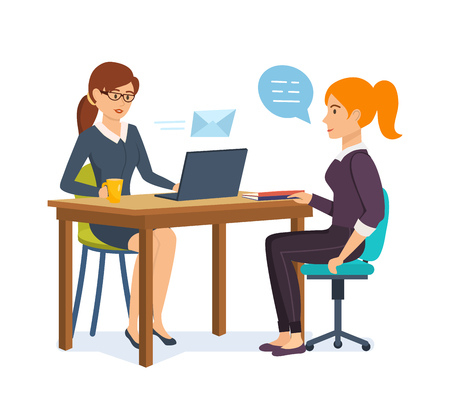 Woman interviews an employer with potential employee, communicates, exchanges information.