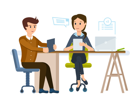 Girl gets acquainted with young mans resume, conducts an interview. Stock Illustratie