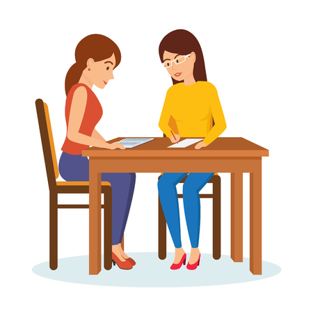 Woman interviews an employer with potential employee, communicates, exchanges information. Stock Vector - 80092189