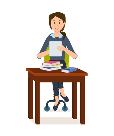 Girl is looking for information in electronic library and book.