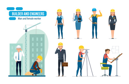 speciality: Engineers cartoon set with construction workers, architect, repairman and director.