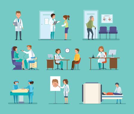 Reception by doctors, therapist, radiologist, surgeon, dentist, oculist, hospital staff. Illustration