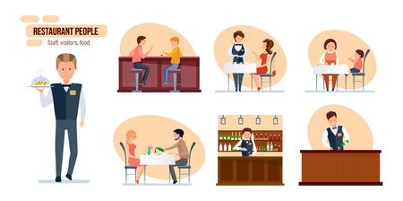 Restaurant people: friends in bar, bartender, waiter, mom and child Illustration