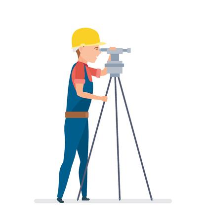 Cadastral engineer conducting land management expertise, conducting land markings. Reklamní fotografie - 80108111