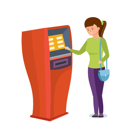 Girl uses financial services of bank terminal for personal purposes.