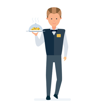Restaurant waiter, in branded clothes takes order, brings a dish.