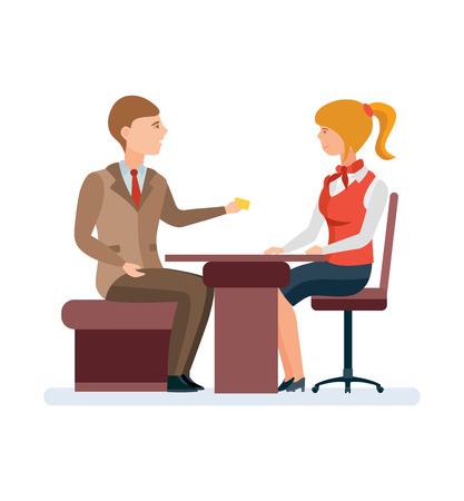 Manager, serves permanent client, with gold card behind office table. Vectores