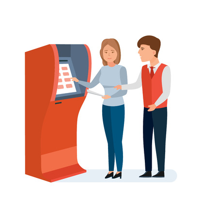 cashpoint: Employee bank consultant helps client to girl with financial operations. Illustration