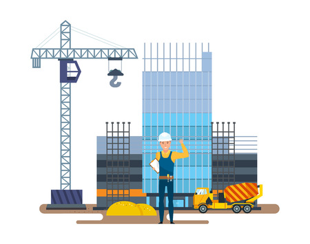 multistorey: Chief of production against background of multi-storey building under construction.