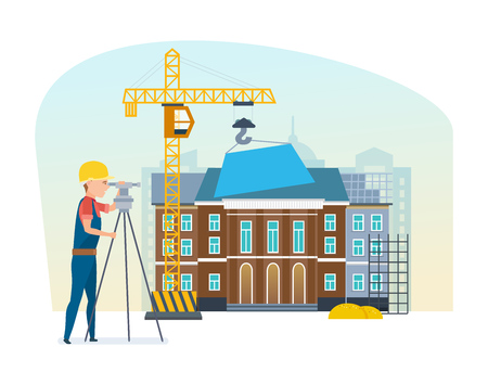 Cadastre engineer looks into lens, on background university under construction. Ilustrace
