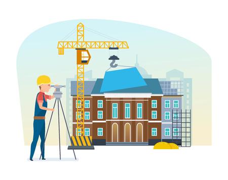 Cadastre engineer looks into lens, on background university under construction. Illustration