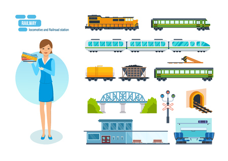 outdoor goods: Collection of modern railway locomotives, passengers wagons and speed trains, railroad station, transport carriage, girl check-taker. Modern vector illustration isolated on white background.