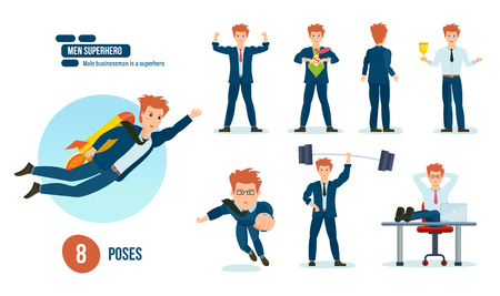 Businessman is superhero, beautiful business clothes in various poses, situations.