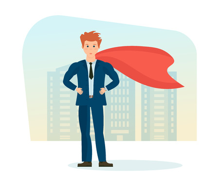 Businessman is superhero, in business clothes on background of city. Illustration