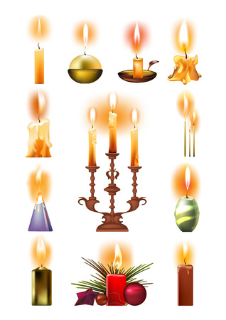 Set of burning candles: classic, in holder, on candlestick, Christmas.