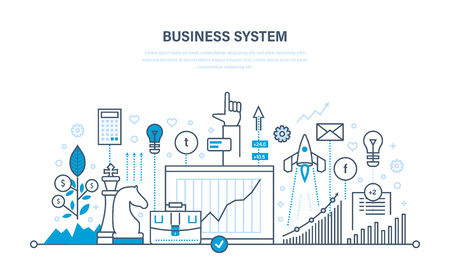 Business system, communications, planning, analysis, research, business strategy, documentation, workflow. Illustration